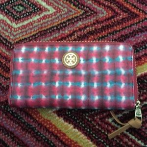 Tory Burch Wallet Pink And Blue Tye Dye